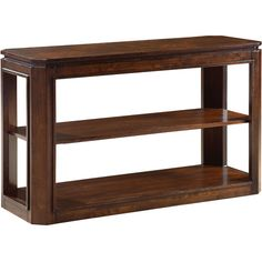 A sleek addition to your foyer or living room, this wood console table showcases carved detailing, lower storage space, and a dark tobacco brown finish for t...