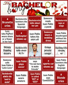 Bachelor Bingo cards from Bringing Up Burns: These card can be revised to suit the Bride and Groom! Bachelor Drinking Game, Bachelor Party Games, Drinking Games, Bachelor Premiere, Bachelorette Premiere, Bachelor Bracket, Abc The Bachelor, Abc Party, Little Free Libraries