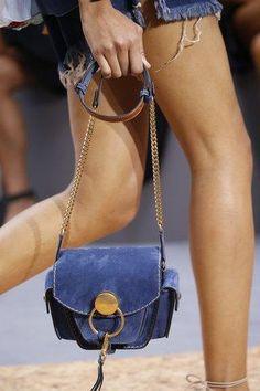 Chloé blue suede saddle bag