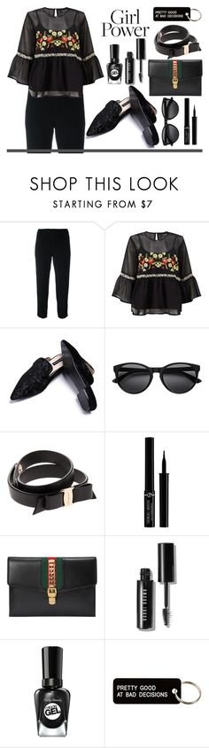 """Girl Power."" by lindaedwardss ❤ liked on Polyvore featuring Chloé, Miss Selfridge, Salvatore Ferragamo, Giorgio Armani, Gucci, Bobbi Brown Cosmetics and Various Projects"