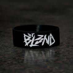 Black rubber wristband with DJ logo embossed in white. Kandi, Black Rubber, Dj, Rings For Men, Logo, Jewelry, Men Rings, Logos, Jewlery