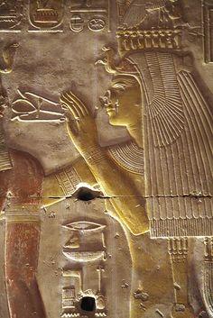 Templo de Sethi I segunda sala hipóstila , pared de las capillas. Abydos .
