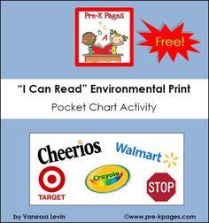 Free printable environmental print pocket chart activity via www.preschoolspot.com