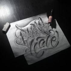 Pure hate. Fun. #wlk #calligraphy #lettering #tattoo #ink #krakow #katowice #rocknink #flash #purehate #chicano (w: WLK)
