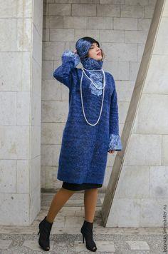 """Купить Пальто """" Сапфировая россыпь ..."""" - тёмно-синий, пальто, пальто женское"""