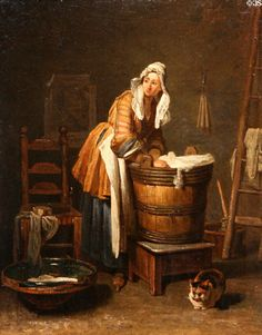 Washerwoman painting (c1733-9) by Jean-Siméon Chardin at Toledo Museum of Art. Toledo, OH.