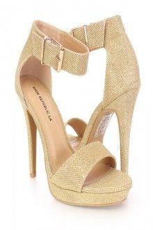 Gold Open Toe Ankle Strap High Heels Glitter