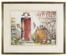Lot 90: Watercolor of Antique Shop. On website. Labeled as coming from my house. Not on hand-written receipt.