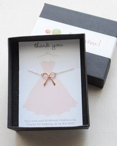 Rose Gold Bow Necklace by Olive Yew. This little bow necklace is the perfect bridal party gift. It works well for bridesmaids, flower girl or anyone in your wedding.