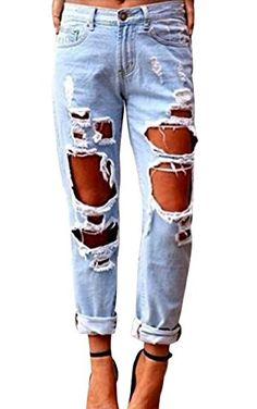 New Trending Denim: Womens Ladies Stretch Faded Ripped Slim Fit Skinny Denim Jeans (Medium, c-blue). Womens Ladies Stretch Faded Ripped Slim Fit Skinny Denim Jeans (Medium, c-blue)  Special Offer: $18.85  366 Reviews Tips:All jeans are brand new, so you need open the button hole with a little scissorsMaterial:Cotton,SpandexMid-waisted Brazilian StyleStyle: Slim, SkinnySlight high...