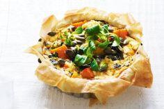 Pumpkin, kale and ricotta filo pies