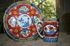 Vintage Imari Coffee Mug & Plate by Takahashi Botanical Made in Japan red stamp DAI ICHI TOKI salad luncheon dessert Hand Painted by KattsCurioCabinet on Etsy China Dinnerware Sets, Antique Items, Coffee Mugs, Coffee Time, Vintage Antiques, Oriental, Stamp, Hand Painted, Plates