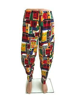 Vintage International Male Parachute Pants Baggy Muscle Cotton Print M FA Mc Hammer Pants, Poet Shirt, Wrangler Cowboy Cut, Pirate Shirts, Valley Girls, Mens Sweatpants, Muscle Shirts, Gym Men, 1980s