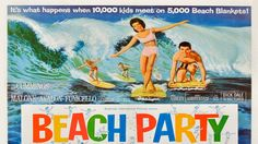 "Movie Poster for the AIP film ""Beach Party"" starring Annette Funicello and Frankie Avalon Old Movies, Vintage Movies, Vintage Posters, Summer Memories, Childhood Memories, Beach Party 1963, Usa Party, Beach Blanket Bingo, Bingo Party"