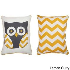 Thro Reversible Tootsie Owl Throw Pillow Lemon Curry