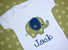 Personalized Elephant Baby Onesie  Baby Boy by sweettulipsboutique, $17.95