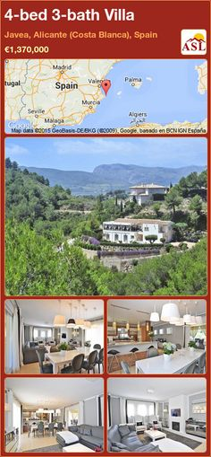 Villa for Sale in Javea, Alicante (Costa Blanca), Spain with 4 bedrooms, 3 bathrooms - A Spanish Life Alicante, Spanish, Villa, Bathroom, Bed, Nature, Life, Beautiful, Palms