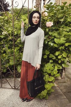Basic Grey Drape Top + Tan Palazzo Pants + Black Maxi Jersey Hijab Palazzo ,now available in black,stone and print. | INAYAH www.inayahcollection.com #palazzopants#inayah