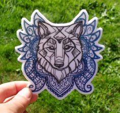 Geometric Wolf Ombre Iron On Patch by snuggobums on Etsy
