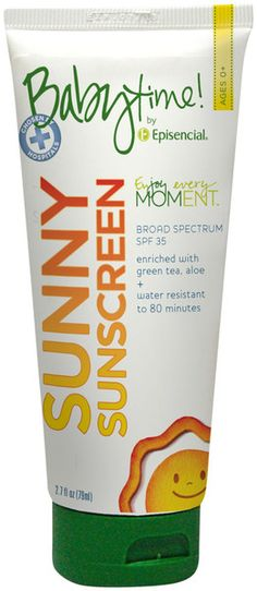 Episencial Babytime! Sunny Sunscreen SPF 35 - Fragrance Free - 2.7 oz  Water Resistant for up to 80 minutes of sprinkler proof fun! Have fun in the sun without exposing skin to harmful UVA and UVB rays or harsh chemical sunscreens using this natural blend of transparent zinc and titanium minerals. Organic ingredients like shea butter, beeswax and avocado oil nourish and soften skin while green tea extract neutralizes sun-induced free radical damage.