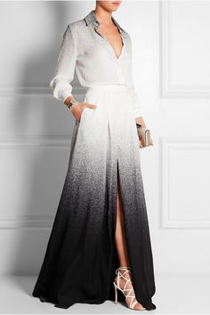 Elie Saab Dégradé printed silk-georgette maxi skirt #skirt #clothing #style #ombre