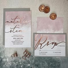 A stunningly simple rose gold and blush wedding invitation. Perfect for the modern bride, this design features rose gold foil printed on the loveliest blush card, paired with pale grey envelopes. --- HOW TO ORDER A SAMPLE --- If you would like to ord Grey Wedding Invitations, Gold Invitations, Watercolor Wedding Invitations, Wedding Stationery, Wedding Cards, Rose Gold Invites, Watercolour Invites, Feuille D'or Rose, Carton Invitation