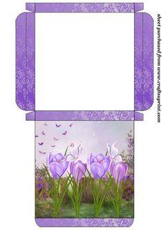 Purple crocus card box on Craftsuprint designed by Sharon Poore -