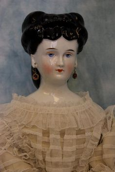 """24.5"""" Early Antique Germany China head Doll Fancy Hair, and 3 Sew Holes RARE!"""