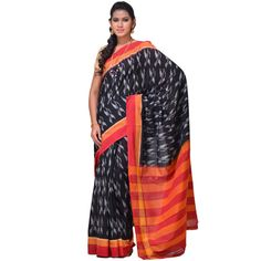 This Handloom Cotton Saree from Andhra Pradesh has been woven using the resist-dyeing, which produces the unique patterns adorning the fabric. Multicolor Ikat Cotton Handloom Saree i0293
