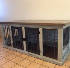 Want to get rid of the ugly dog crate or dog bed and replace it with a beautiful handcrafted piece of dog kennel furniture? We've added a new dog kennel design to our lineup! Shabby rustic finish with stain top, per custom request. Can also be ordered with a stain or painted finish.