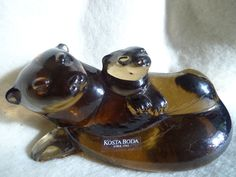 Sweden Kosta Boda Paul Hoff art glass figurine Utter  WWF animals limited 5 inch #KostaBoda #PaulHoff
