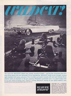1963 BUICK WILDCAT CONVERTIBLE  ~  CLASSIC PRINT AD