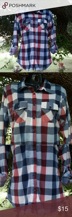 "Plaid Button Down Shirt in Blue, Red and White. Another classic button down shirt. Plaid in blue, red and white colors. The sleeves are long nlbut have the buttons to be converted in 3/4 sleeves. Armpit to armpit is 19"" From shoulder to bottom is 27"" Rue 21 Tops Button Down Shirts"