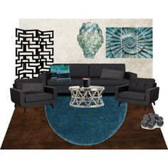 Dark ocean Living room moodboard by A-Interior Designs