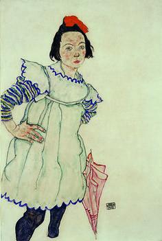 Egon Schiele - Girl with Umbrella, 1916