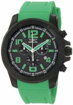 Invicta Men's 1920 Specialty Chronograph Black Dial Green Polyurethane Watch Invicta. $99.99. Water-resistant to 100 m (330 feet). Black dial with green hands, hour markers and arabic numerals; luminous; brushed and polished black ion-plated stainless steel unidirectional bezel, screw-down crown and pushers. Swiss quartz movement. Chronograph functions with 60 second, 30 minute and 1/10th of a second subdials; date function. Flame-fusion crystal; brushed and polished...