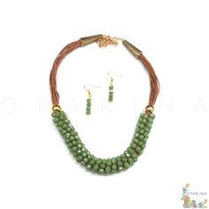 Collar de Pedreria Verde con Cordones Cafe. #oparina #necklace  #madewithstudio
