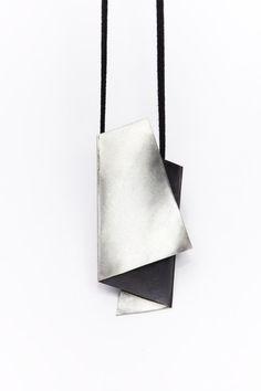 Geometric silver pendant by Mirojewelery on Etsy