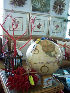Upcycle the old globe for a little boys room.  Used scrabble letters and matchbox toys.