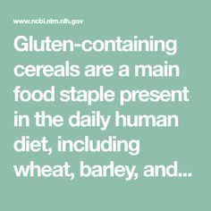 Gluten-containing cereals are a main food staple present in the daily human diet, including wheat, barley, and rye. Gluten intake is associated with the development of celiac disease (CD) and related disorders such as diabetes mellitus type I, depression, ...
