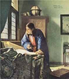 The Geographer  - Johannes Vermeer.  c.1668-69.  Oil on canvas.  52 x 45.5 cm. Städelsches Kunstinstitut, Frankfurt, Germany.