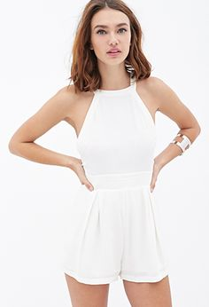 Pleated Crepe Woven Romper | FOREVER21 - 2000138162