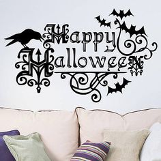 Fashion Happy Halloween Bats and Crow Quotes Wall Decals Window Stickers Halloween Decor