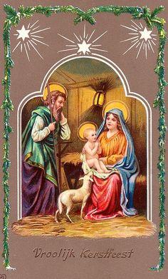 Nativity: Jesus, Mary and Joseph with little lamb