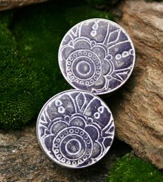 """Purple Floral Plugs Gauges Reversible for Gauged ears One of a kind 1"""" one inch. $24.00, via Etsy."""