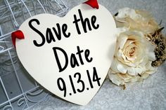 Hey, I found this really awesome Etsy listing at http://www.etsy.com/listing/155383490/shabby-chic-save-the-date-sign-heart