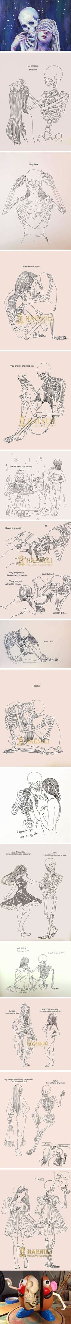 Death-Inspired Love Comics That Artist Haenuli Created To Cope With Her Depression<<<my reason to join the skeleton war Haenuli Shin, Arte Obscura, Cute Comics, Dark Art, Oeuvre D'art, Art Inspo, Amazing Art, Awesome, Art Reference