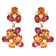 """Marguerite"" Diamond Mandarin Garnet and Spinel Ear Clips 