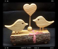 Holz Deko verliebte Vögel