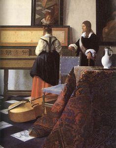 Baroque:A Lady at the Virginals with a Gentleman by Jan Vermeer Van Delft Johannes Vermeer, Delft, Rembrandt, Palace London, Vermeer Paintings, Dutch Golden Age, Religious Paintings, Baroque Art, Art History